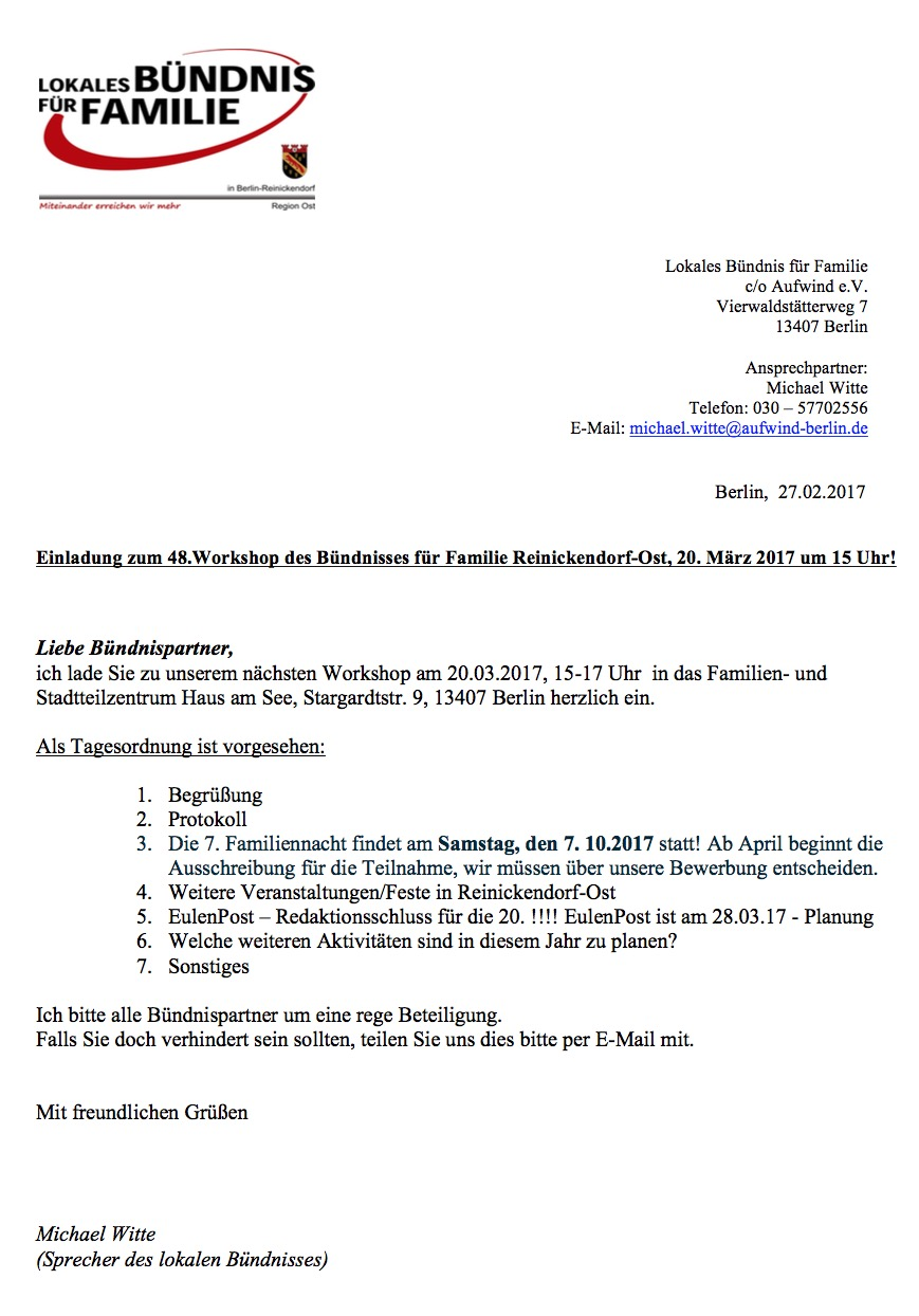 einladung zum 48. workshop des bündnisses für familie, Einladung